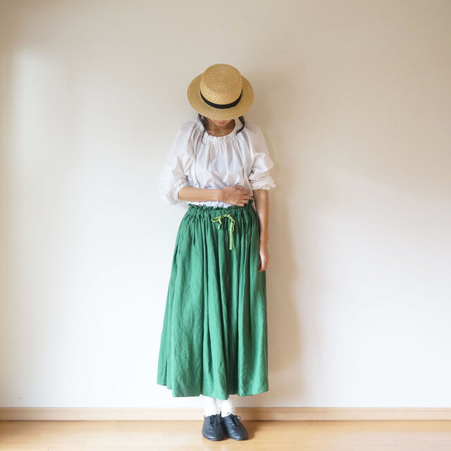 Linen waist gather skirt GREENの画像1枚目