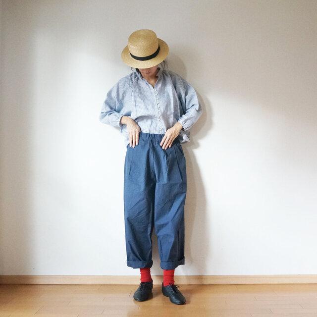 ◯予約商品◯Linen button gather blouseの画像1枚目