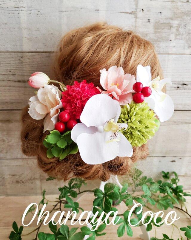 春hirara 桜と胡蝶蘭の髪飾り10点Set No401 袴 卒業式の画像1枚目