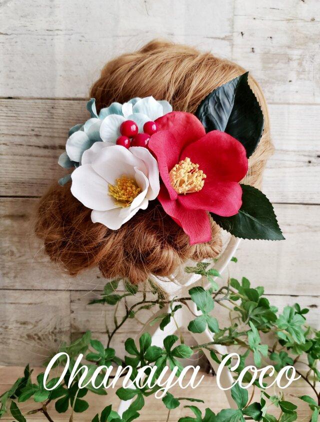 花雅 真っ赤な椿と真っ白椿の髪飾り5点Set No403 袴 卒業式の画像1枚目