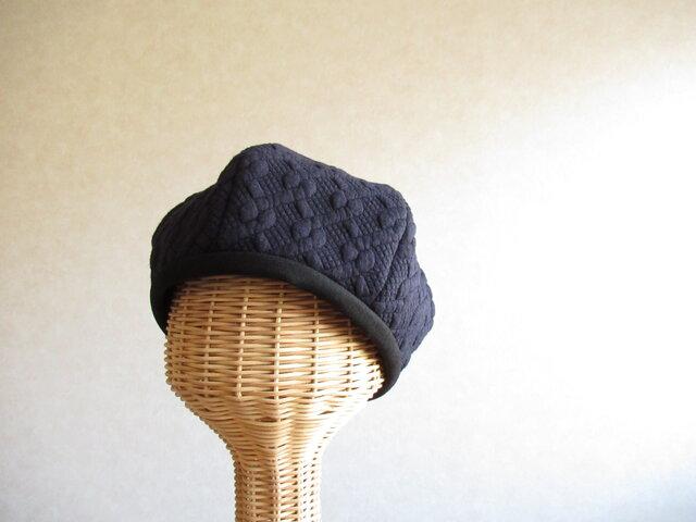 6枚はぎのベレー帽 ケーブル模様、ネイビー [残り1つ]の画像1枚目