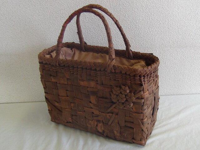 山葡萄かごバッグ オリジナル市松編み 幅320x奥行120x高さ230 HM05-13 国産品(マイスター槙野浩子作) 送料無料の画像1枚目