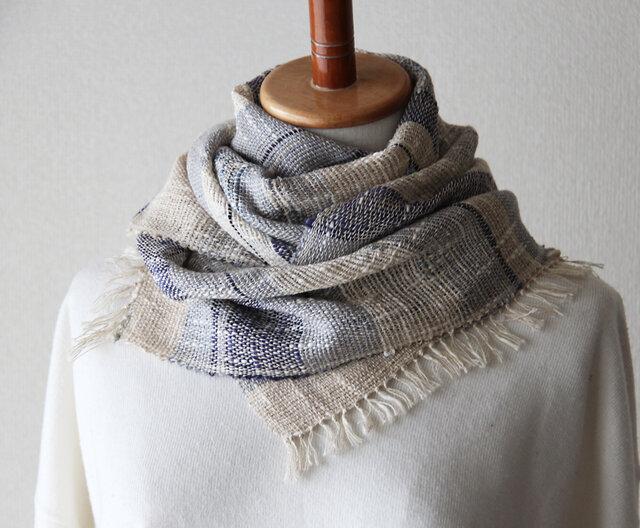 夏も使えるリネンコットン手織りストール 生成りベージュ 母の日ギフト/日よけにもの画像1枚目