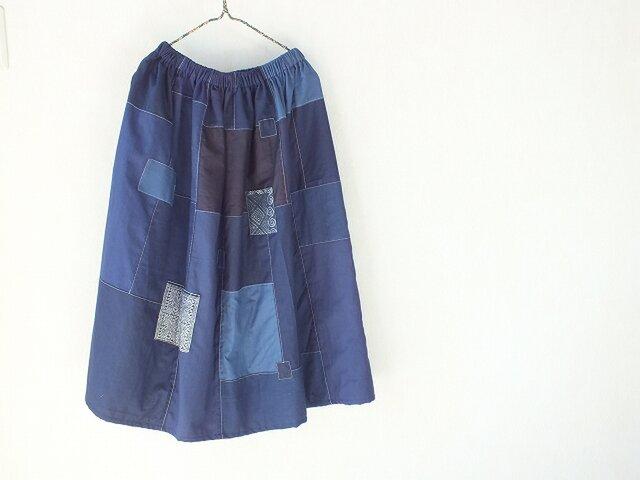 藍の海~古布のつぎはぎスカートの画像1枚目