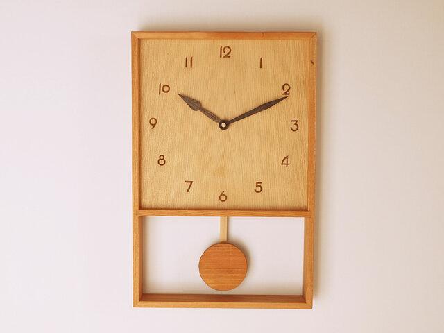 木製 箱型 振り子時計 ケヤキ材8の画像1枚目