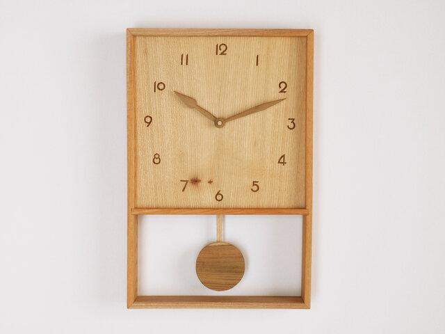木製 箱型 振り子時計 ケヤキ材11の画像1枚目