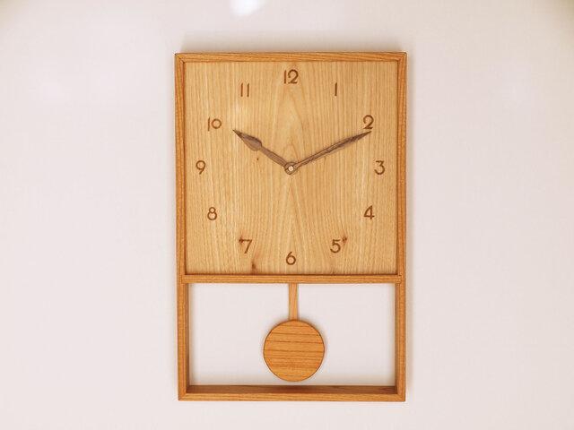 木製 箱型 振り子時計 ケヤキ材12の画像1枚目