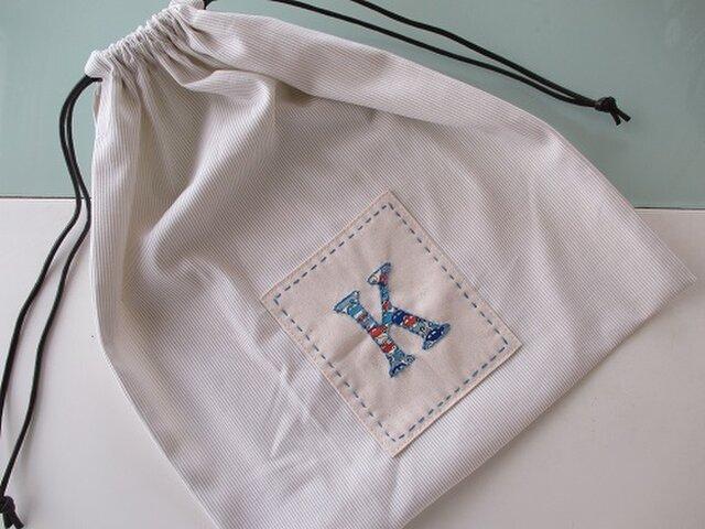 イニシャルアップリケの巾着(K)の画像1枚目