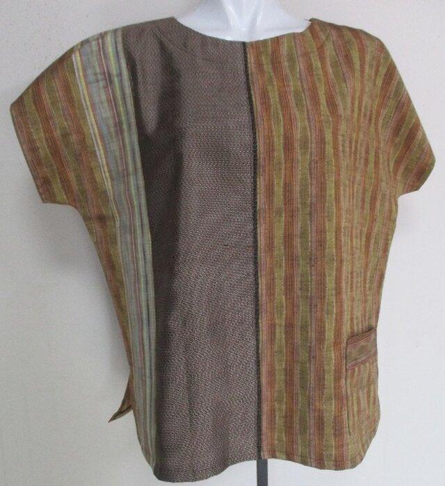 送料無料 縞柄の着物で作ったプルーオーバー 4025の画像1枚目
