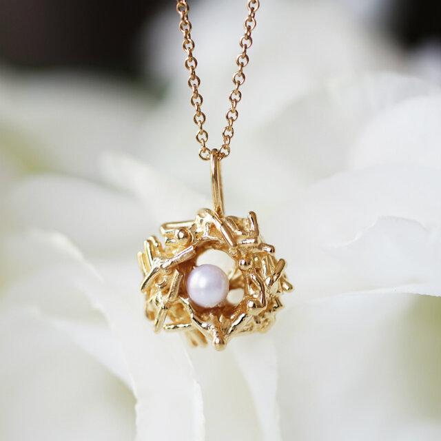 真珠のたまごを抱いた巣ごもりネックレス ~Bird's nestの画像1枚目