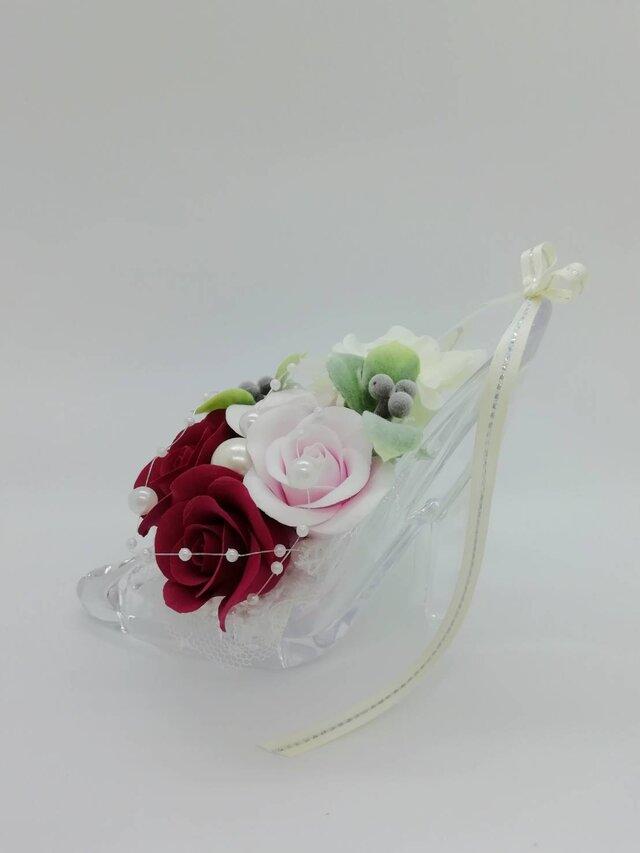 【薔薇】クレイフラワー シンデレラの靴【1点モノ】(送料込)の画像1枚目