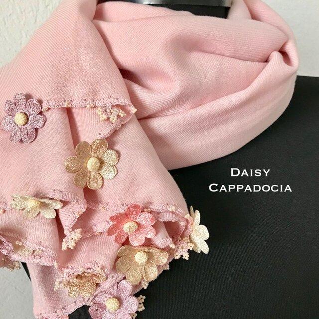 刺繍のお花つき パシュミナストール「デイジー」ピンク&ベージュの画像1枚目