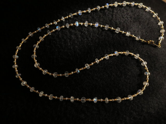 SV・K10 Blue moon stone・Pearl Long Necklaceの画像1枚目