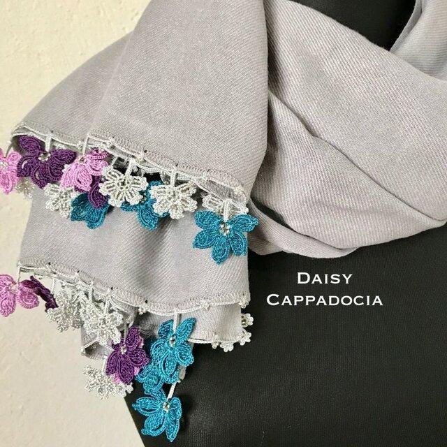 【オータムセール】刺繍のお花つき パシュミナストール ライトグレーの画像1枚目