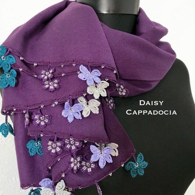 刺繍のお花つき パシュミナストール パープルの画像1枚目