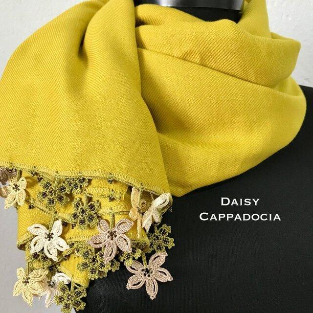 オータムセール! 刺繍のお花つき パシュミナストール イエロー&ベージュの画像1枚目