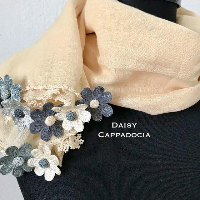 刺繍のお花つき オーガニックコットンストール(綿100%)デイジー・グレーミックスの画像1枚目