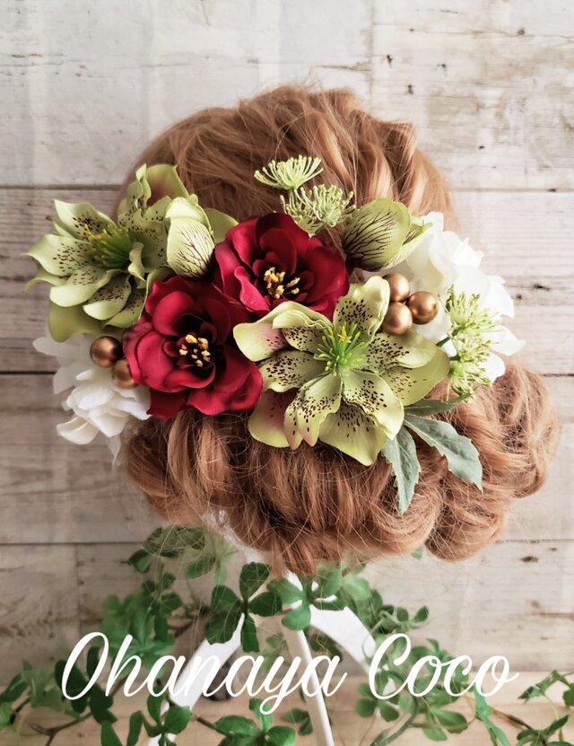 華やかローズと椿の髪飾り13点Set No406の画像1枚目