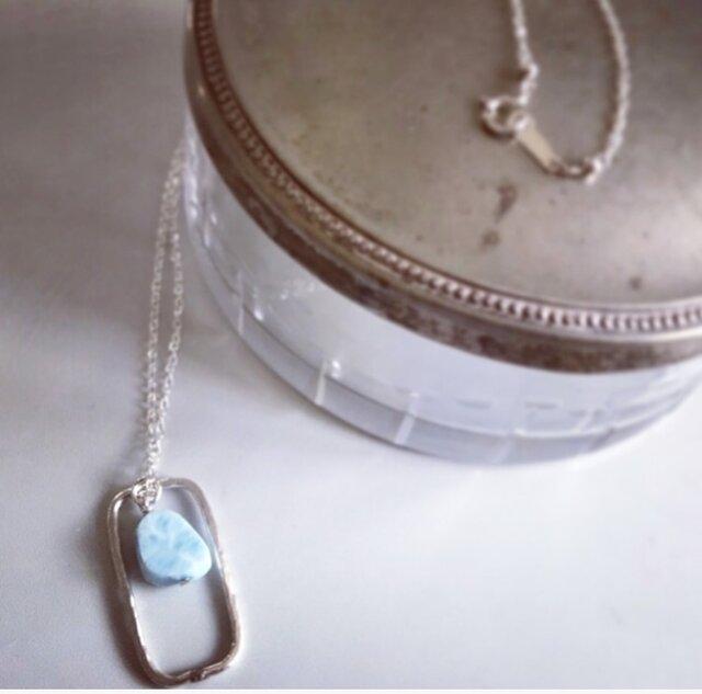 larimar*silver necklaceの画像1枚目