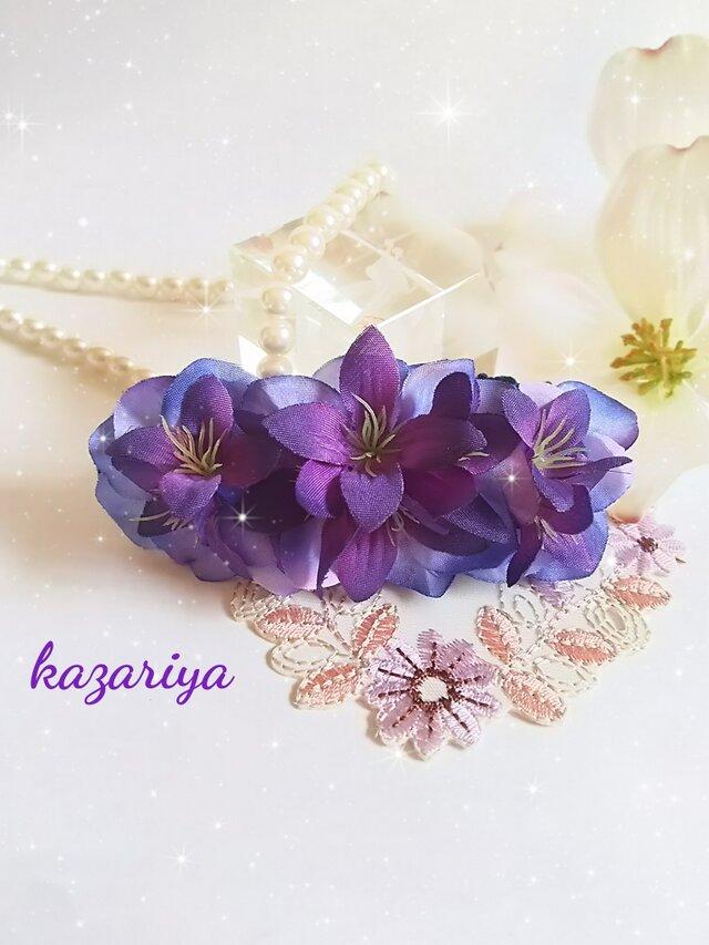 **irodoru**美しき桔梗**小さな桔梗の花束の様なバレッタ。。**の画像1枚目