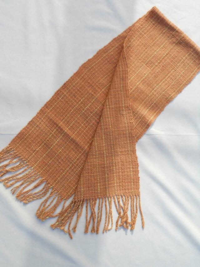 茜染め 手紡ぎ 手織りマフラー MUF126A オレンジ メリノウール プレゼントの画像1枚目