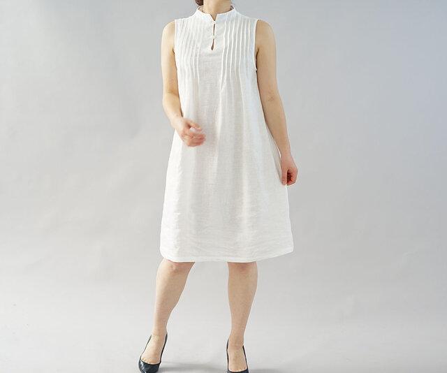 【wafu】薄地 雅亜麻 リネン ワンピース ペチワンピース ピンタック 2way インナー 肌着/白色 p001a-wht1の画像1枚目