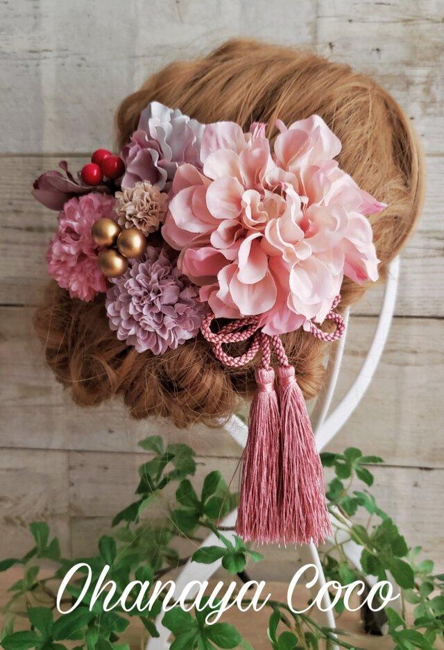 甘花 ピンク系くすみカラーの髪飾り9点Set No407の画像1枚目
