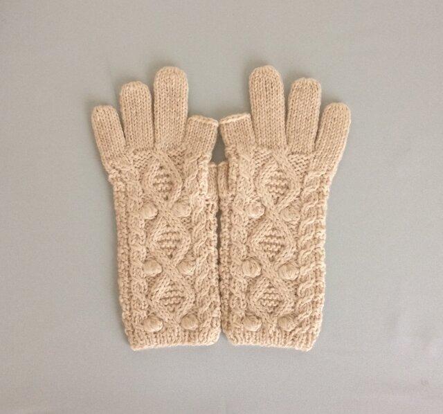 【受注制作】手袋アルパカ×ラムウールベージュ系(の画像1枚目