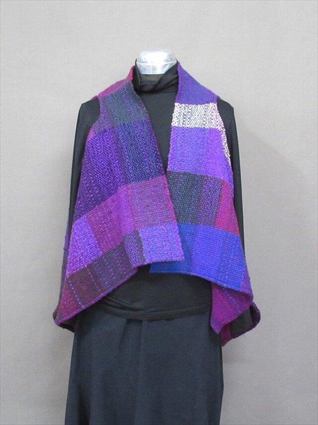 手織り ブロック柄ベスト(紫)s18-80の画像1枚目