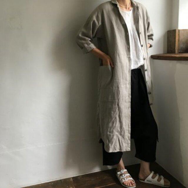 リネンのラボ・ロングドレス<ラウンドカラー>#グレージュ 柔らかい上質のリネンの画像1枚目