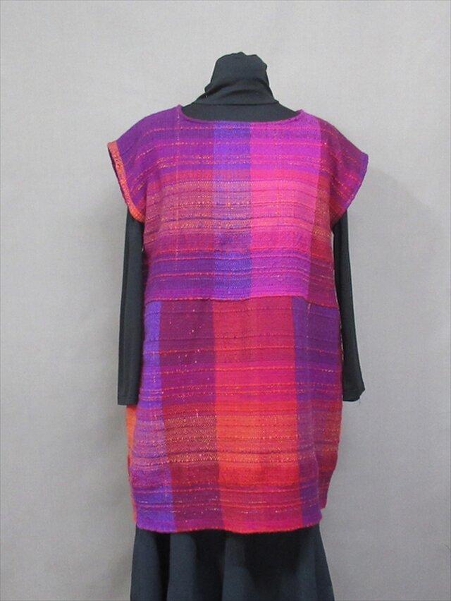 手織り ローズ色チュニック  s18-49の画像1枚目