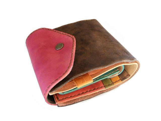 half wallet ピンク×こげ茶 手染めの画像1枚目