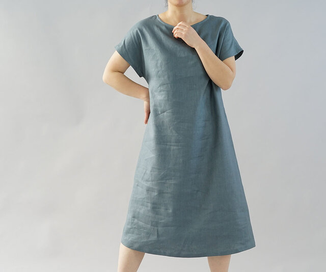 【wafu】中厚 リネン ワンピース フレンチスリーブ ドレス 膝下丈 ビックTシャツ / エタインブルー a041h-ebn2の画像1枚目
