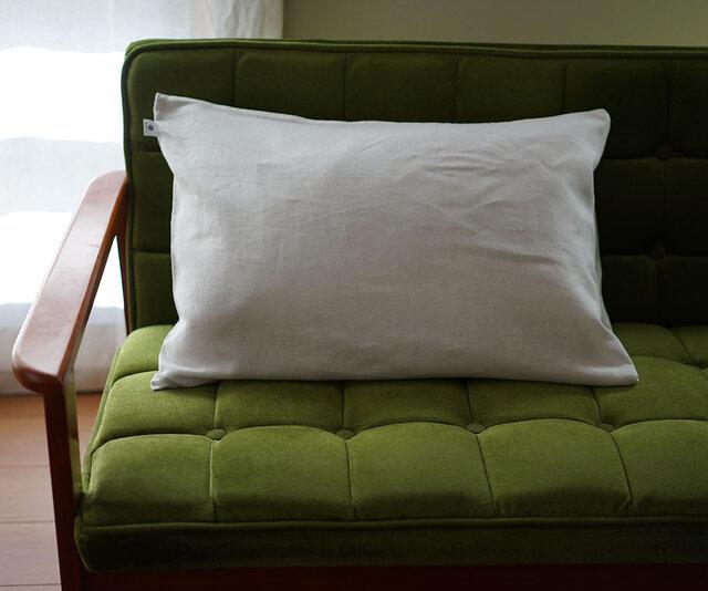 【wafu】特殊な リネン ピローケース 枕カバー 筒型 マイナスイオン加工 防菌 防臭加工/ホワイト r002a-wht3の画像1枚目