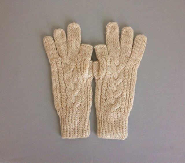 【受注制作】手袋アルパカ×ラムウールオフホワイトベージュ系(の画像1枚目