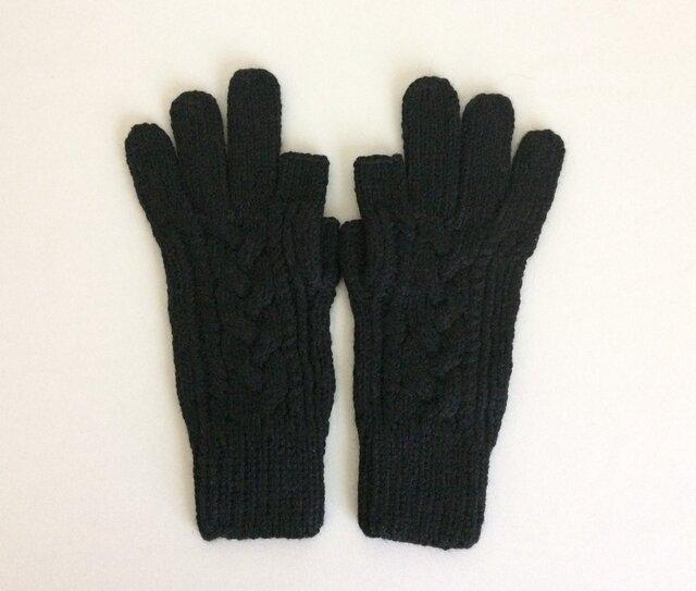 【受注制作】手袋アルパカ×ラムウール黒の画像1枚目