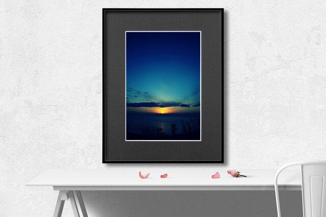 【額装写真】Sunrise Blue【A4 アートフォト】ウェルカムボード、メッセージボードへのオーダー承りますの画像1枚目