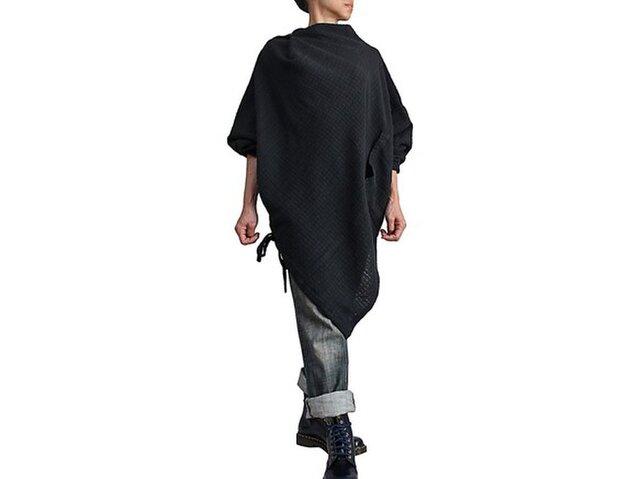 ターポン手織綿のポンチョ風チュニック 黒(BFS-139-01)の画像1枚目