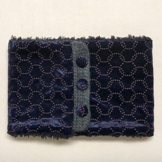 ベロア サークル刺繍柄(ネイビー)+ふわふわプードルファーのネックウォーマーの画像1枚目
