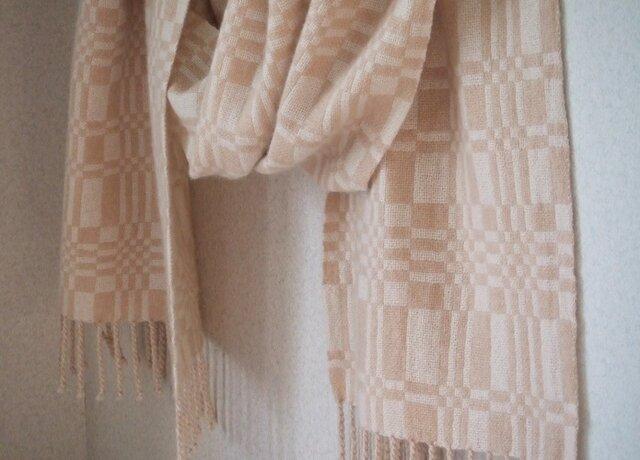 手織りカシミアストール・・ハニー&ミルクの画像1枚目