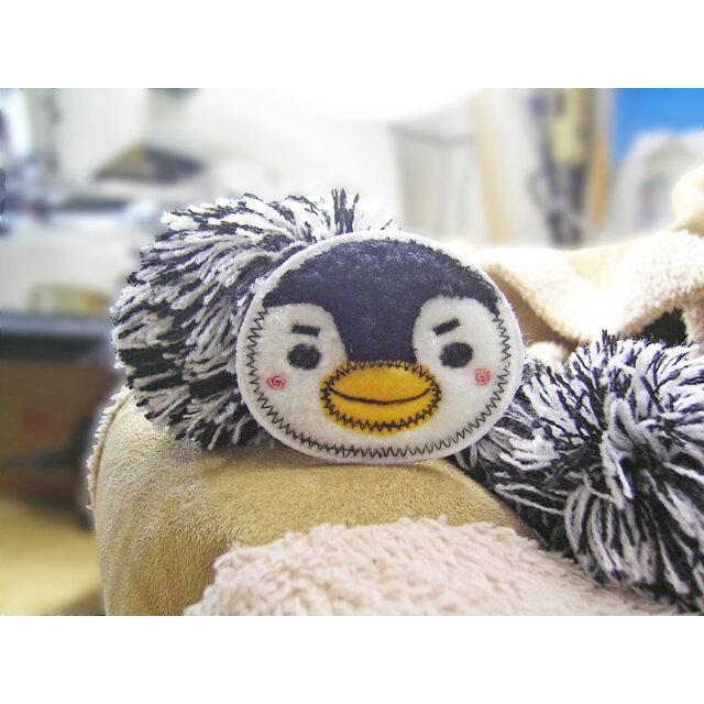 ★ペンギン★もこもこワッペン★アイロン★白黒1枚-6aの画像1枚目
