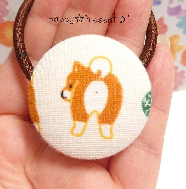 柴犬の可愛いくるみボタンのヘアゴム❤✨⑨ 送料無料 お尻 犬 大人可愛い プチギフト ラッピングの画像1枚目