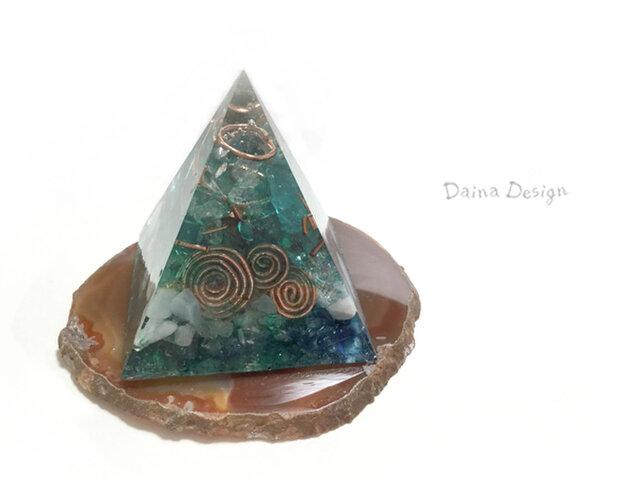 ラリマー ピラミッド オルゴナイト 高級 インテリア ☆ ダイナデザイン ☆ 深い 青 緑 森の画像1枚目