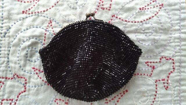 〈オーダー品〉ビーズ編みがま口財布 黒六角ビーズの画像1枚目