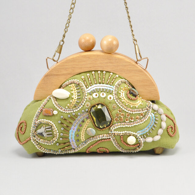 木製フレームのがま口バッグ sparkle ミニサイズ 黄緑の画像1枚目