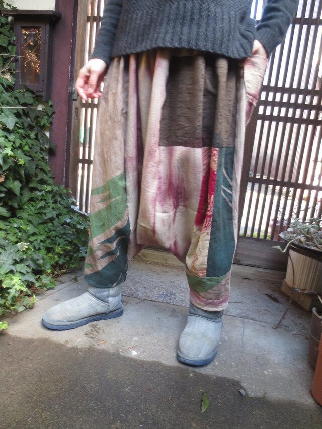 E様ご予約品☆春色染め布と古布で大人女子のサルエルパンツ♪の画像1枚目