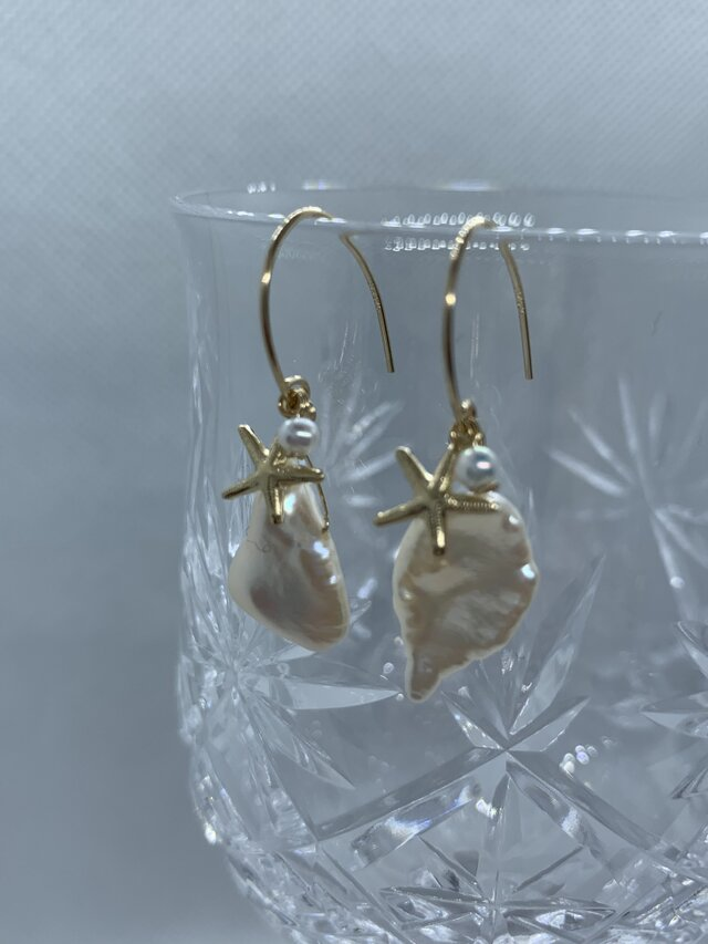 【14KGF/K14GFゴールド揺れる】淡水パールケシパール真珠スターフィッシュの画像1枚目