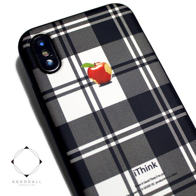 iphoneXSMAXケース / iphoneXSMAXカバー レザーケースカバー(タータンチェック)赤リンゴ XsMAXの画像1枚目
