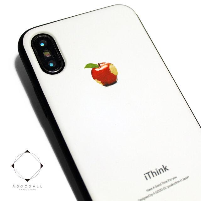 iphoneXSMAXケース / iphoneXSMAXカバー レザーケースカバー(オフホワイト)赤リンゴ シンプル XsMAXの画像1枚目