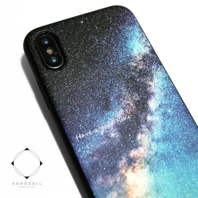 iphoneXSMAXケース / iphoneXSMAXカバー レザーケースカバー(天の川×ブラック)夜空 星柄 XsMAXの画像1枚目